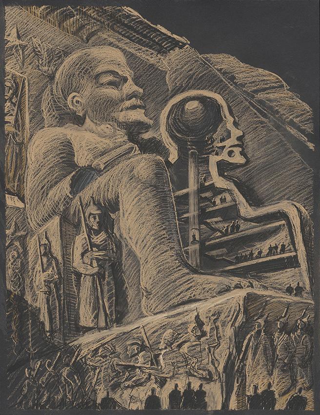16_Sergei-Tchoban_Lenin-Pharaon-Ramses-2020_pastel-on-black-paper_65x50_rid