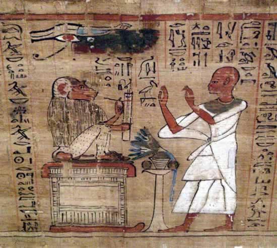 Papiro che raffigura il dio Thot