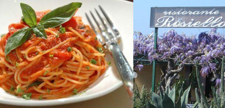 Insegna ristorante rosiello + piatto di spaghetti al pomodoro