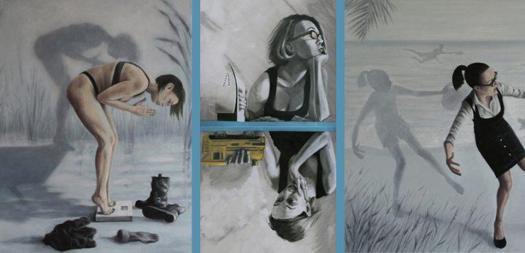 tre opere di Vania-Elettra-_esposte_durante_la_mostra_Doppia_mentis(donna_su_bilancia;_donna_con_ferro_da_stiro;cameriera_con_bicchieri_rovesciati)