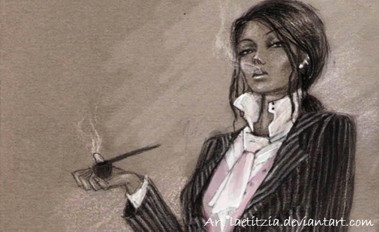 donna con pipa