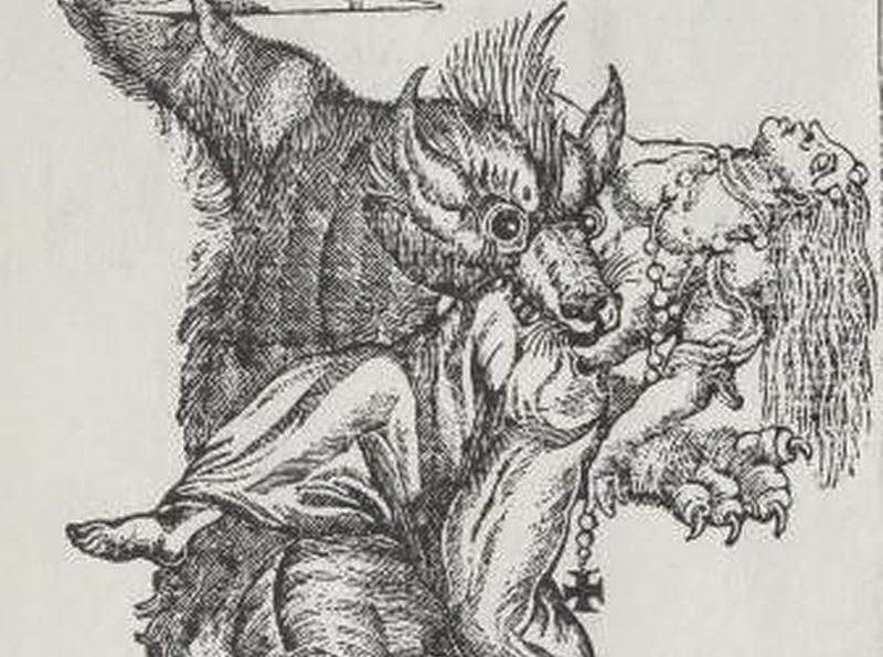 un licantropo, incisione del XIX secolo